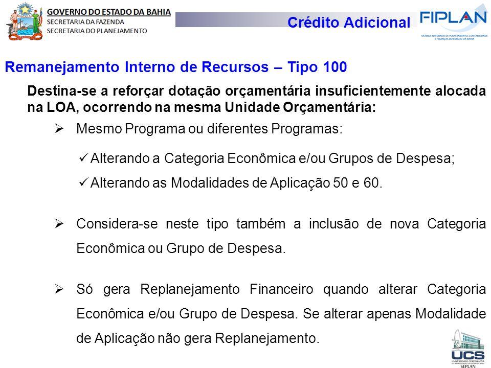 Crédito Adicional Remanejamento Interno de Recursos – Tipo 100 Destina-se a reforçar dotação orçamentária insuficientemente alocada na LOA, ocorrendo