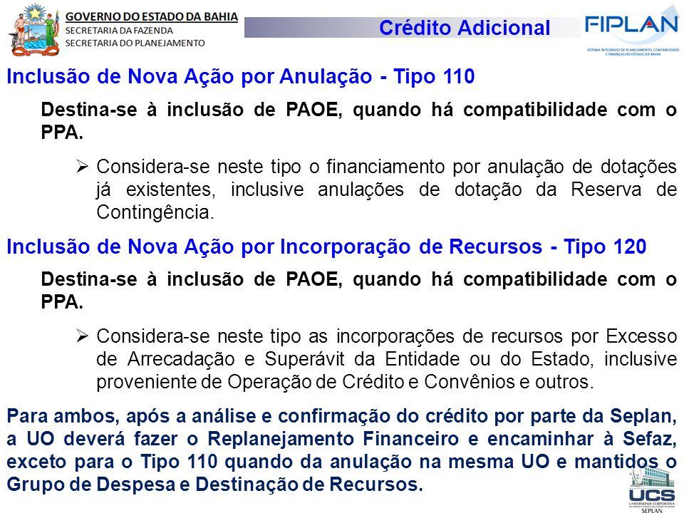 Crédito Adicional Inclusão de Nova Ação por Anulação - Tipo 110 Destina-se à inclusão de PAOE, quando há compatibilidade com o PPA.  Considera-se nes