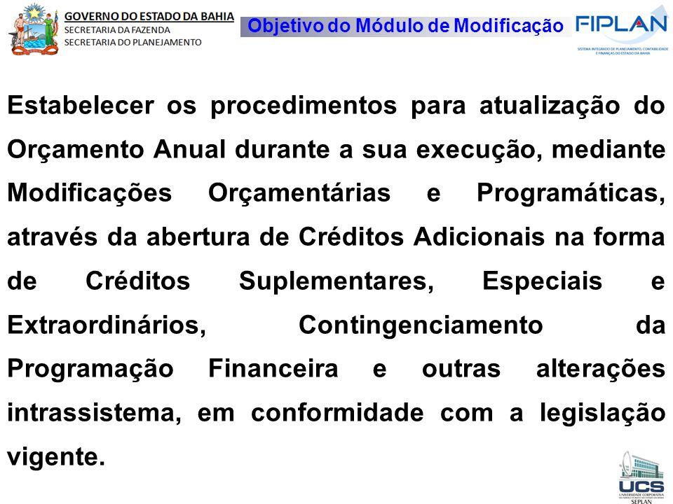 Objetivo do Módulo de Modificação Estabelecer os procedimentos para atualização do Orçamento Anual durante a sua execução, mediante Modificações Orçam