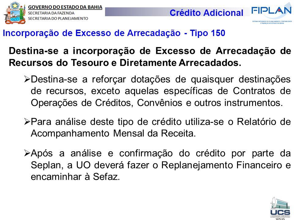 Crédito Adicional Incorporação de Excesso de Arrecadação - Tipo 150 Destina-se a incorporação de Excesso de Arrecadação de Recursos do Tesouro e Diret