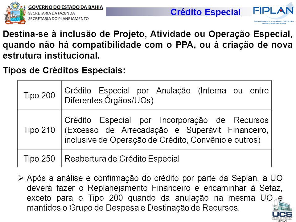 Crédito Especial Destina-se à inclusão de Projeto, Atividade ou Operação Especial, quando não há compatibilidade com o PPA, ou à criação de nova estru