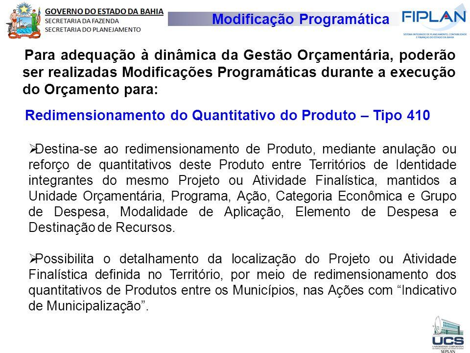 Modificação Programática Para adequação à dinâmica da Gestão Orçamentária, poderão ser realizadas Modificações Programáticas durante a execução do Orç