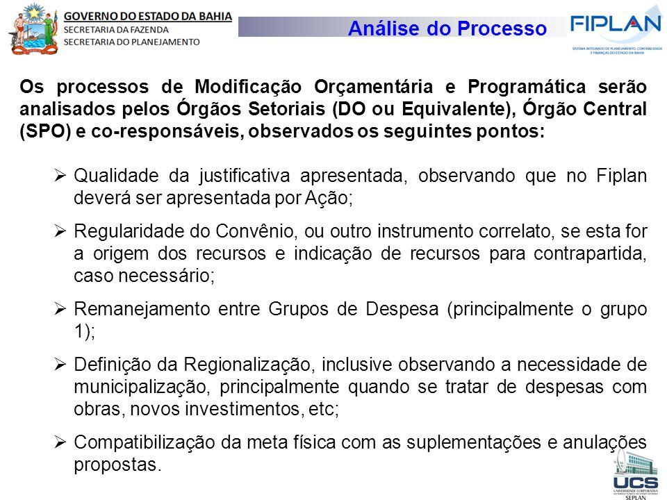 Análise do Processo Os processos de Modificação Orçamentária e Programática serão analisados pelos Órgãos Setoriais (DO ou Equivalente), Órgão Central
