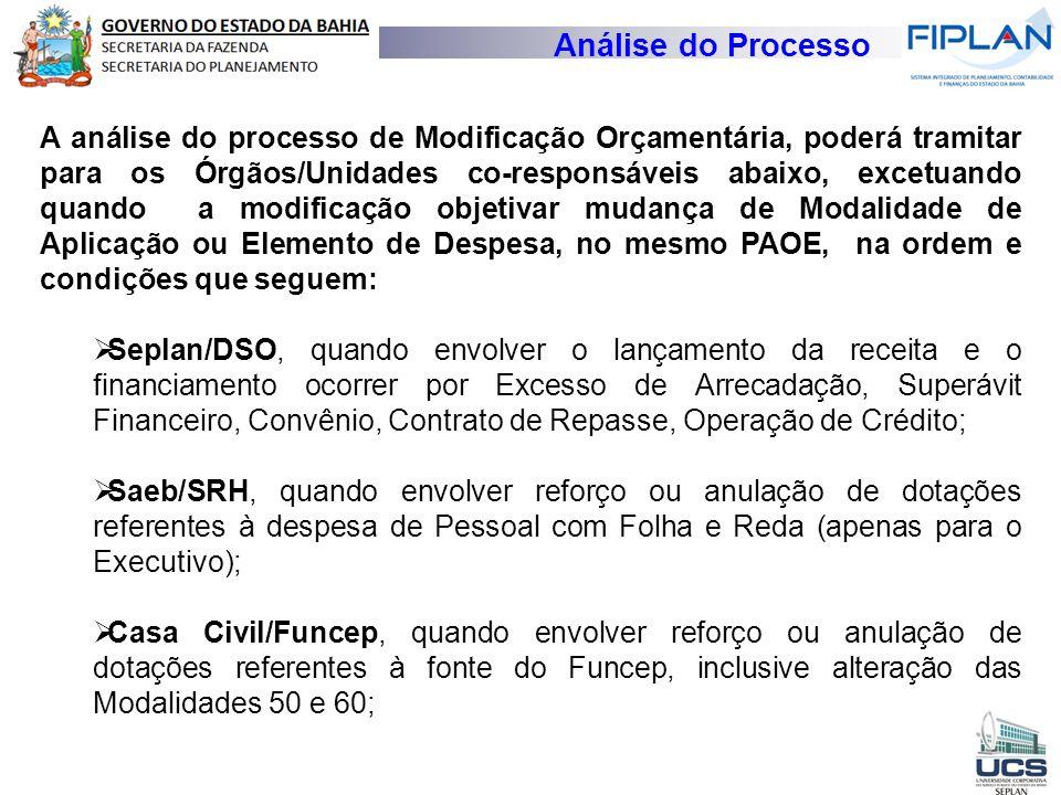 Análise do Processo A análise do processo de Modificação Orçamentária, poderá tramitar para os Órgãos/Unidades co-responsáveis abaixo, excetuando quan
