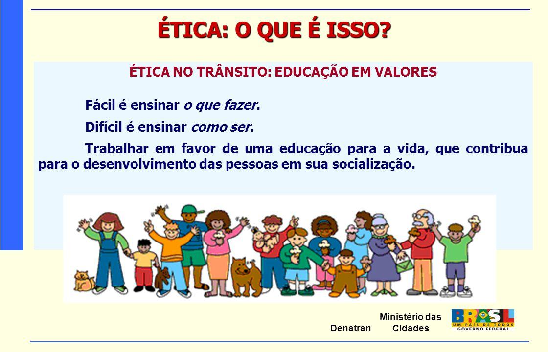 Ministério das Cidades Denatran ÉTICA: O QUE É ISSO? ÉTICA NO TRÂNSITO: EDUCAÇÃO EM VALORES Fácil é ensinar o que fazer. Difícil é ensinar como ser. T