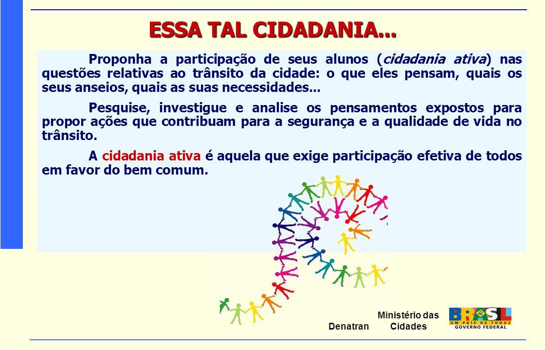 Ministério das Cidades Denatran ESSA TAL CIDADANIA... Proponha a participação de seus alunos (cidadania ativa) nas questões relativas ao trânsito da c