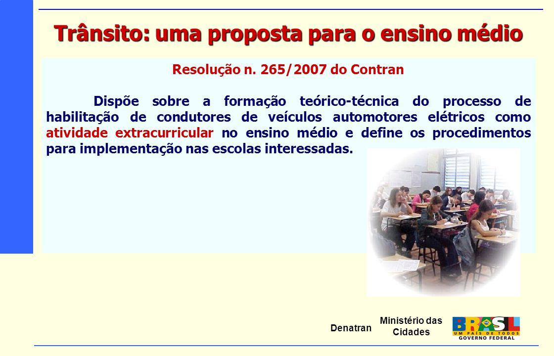 Ministério das Cidades Denatran Resolução n. 265/2007 do Contran Dispõe sobre a formação teórico-técnica do processo de habilitação de condutores de v