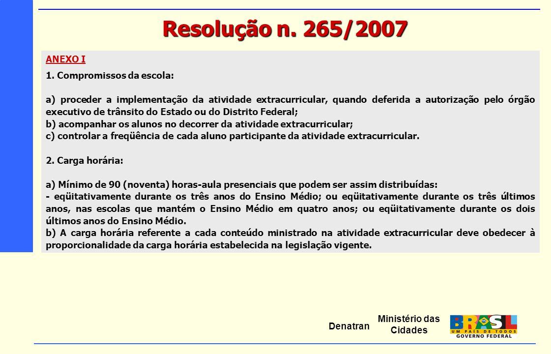 Ministério das Cidades Denatran ANEXO I 1. Compromissos da escola: a) proceder a implementação da atividade extracurricular, quando deferida a autoriz