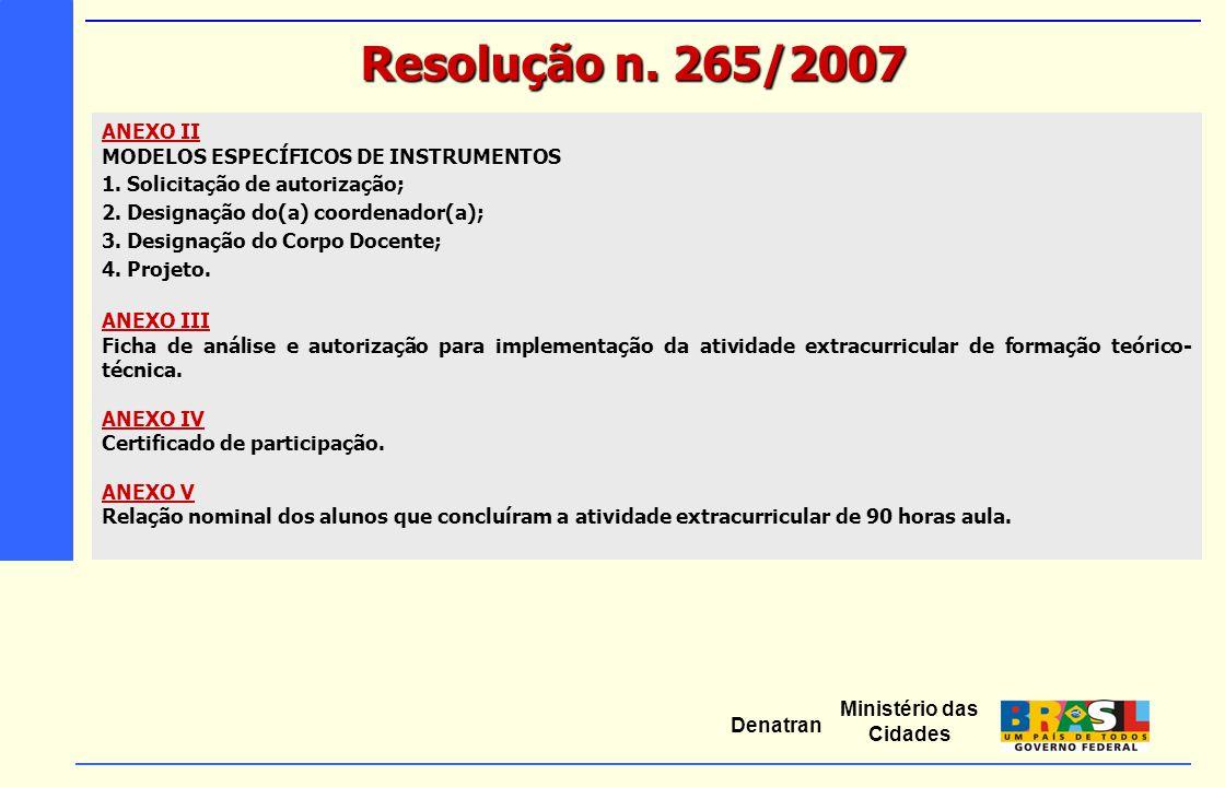 Ministério das Cidades Denatran ANEXO II MODELOS ESPECÍFICOS DE INSTRUMENTOS 1. Solicitação de autorização; 2. Designação do(a) coordenador(a); 3. Des