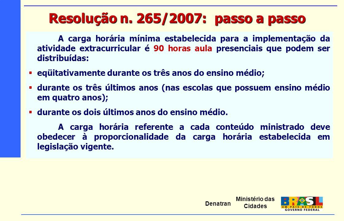 Ministério das Cidades Denatran A carga horária mínima estabelecida para a implementação da atividade extracurricular é 90 horas aula presenciais que