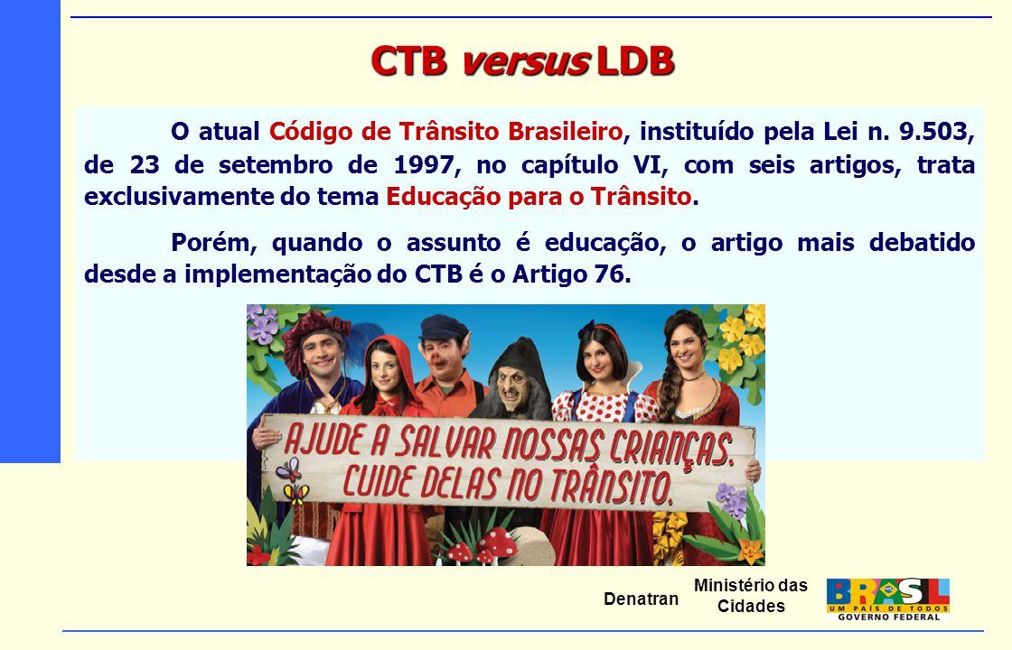 Ministério das Cidades Denatran O atual Código de Trânsito Brasileiro, instituído pela Lei n. 9.503, de 23 de setembro de 1997, no capítulo VI, com se