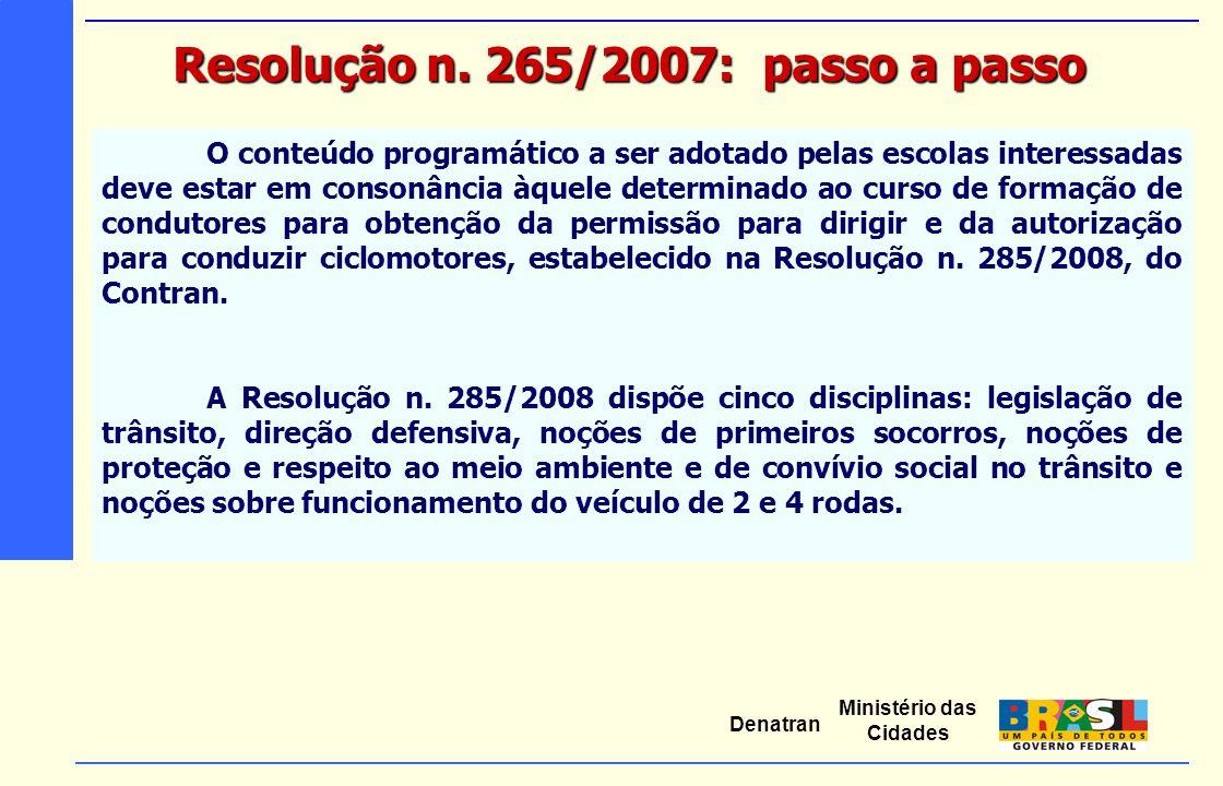 Ministério das Cidades Denatran O conteúdo programático a ser adotado pelas escolas interessadas deve estar em consonância àquele determinado ao curso