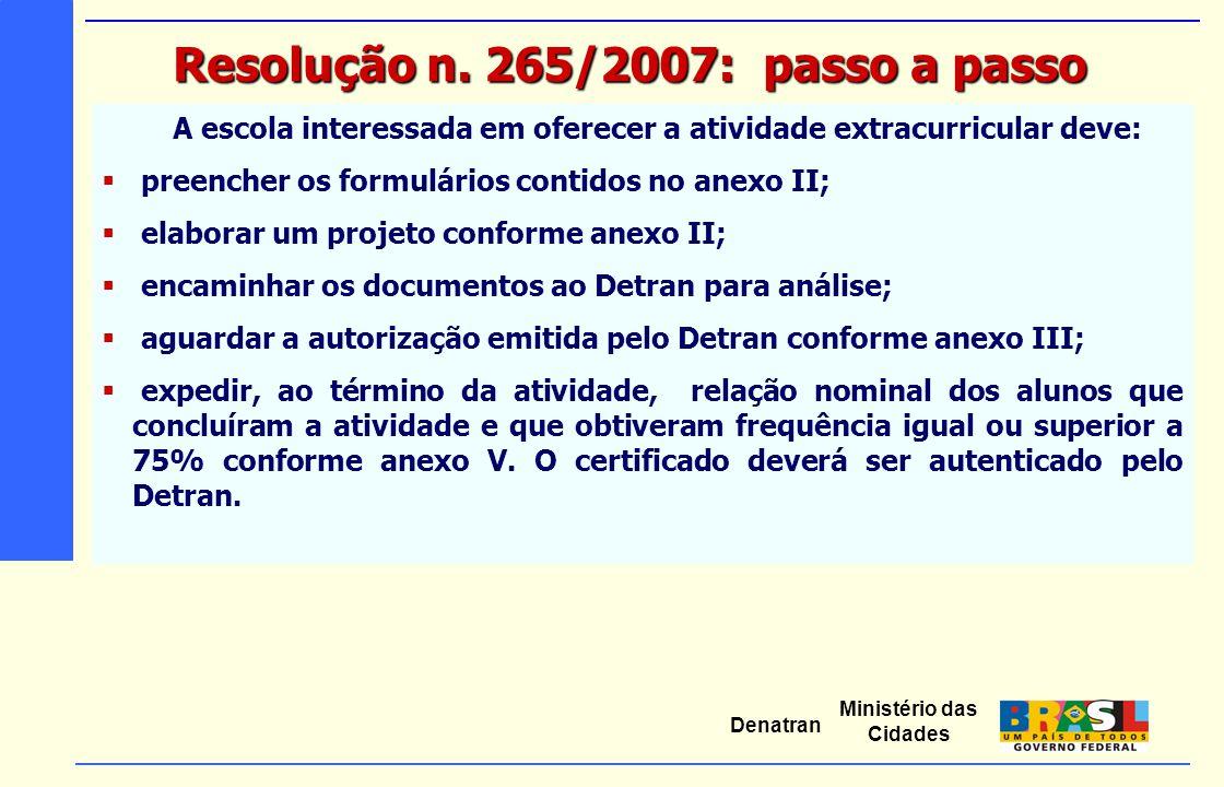 Ministério das Cidades Denatran A escola interessada em oferecer a atividade extracurricular deve:  preencher os formulários contidos no anexo II; 
