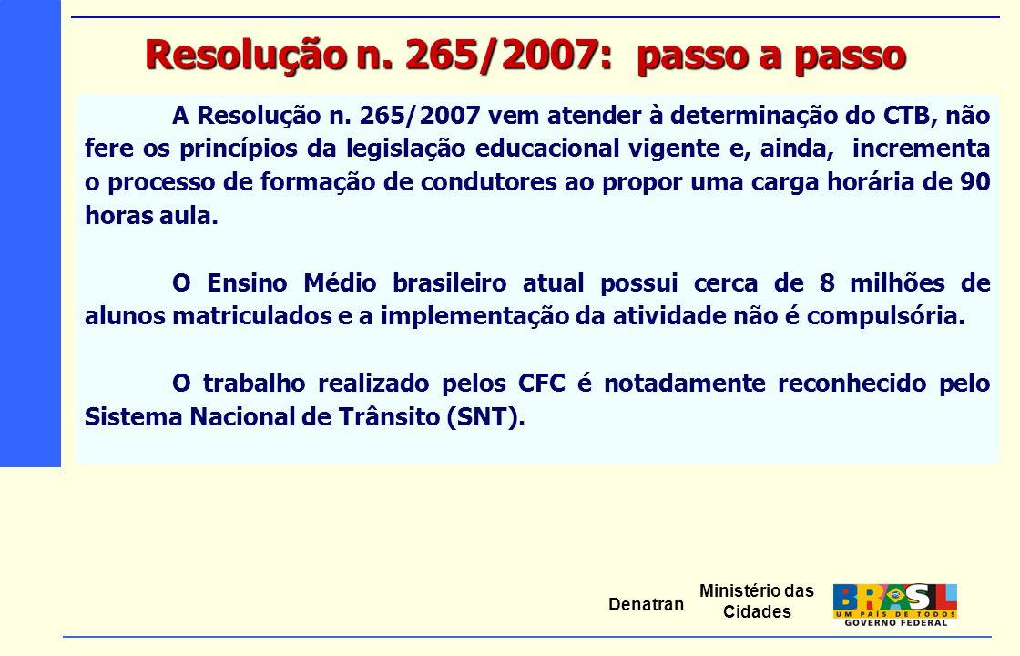 Ministério das Cidades Denatran A Resolução n. 265/2007 vem atender à determinação do CTB, não fere os princípios da legislação educacional vigente e,