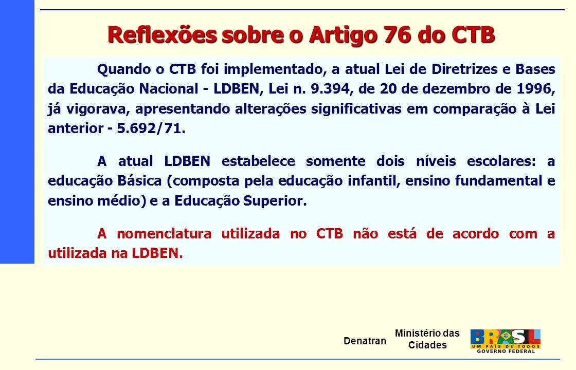 Ministério das Cidades Denatran Quando o CTB foi implementado, a atual Lei de Diretrizes e Bases da Educação Nacional - LDBEN, Lei n. 9.394, de 20 de