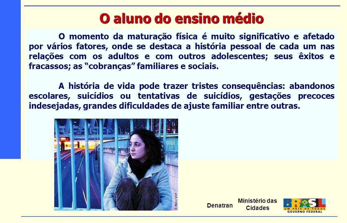 Ministério das Cidades Denatran O momento da maturação física é muito significativo e afetado por vários fatores, onde se destaca a história pessoal d