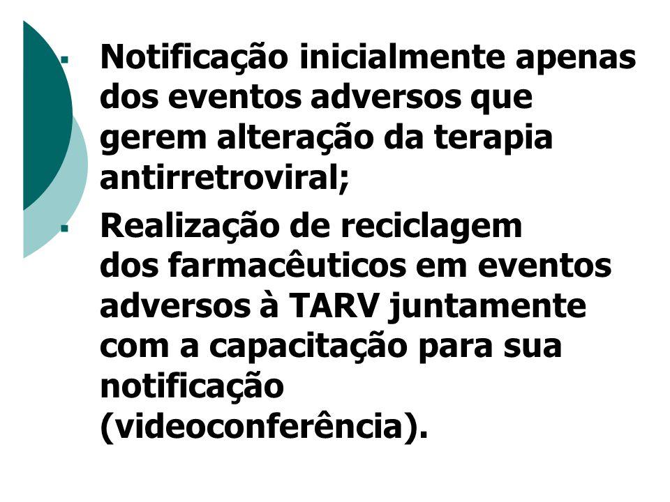  Notificação inicialmente apenas dos eventos adversos que gerem alteração da terapia antirretroviral;  Realização de reciclagem dos farmacêuticos em eventos adversos à TARV juntamente com a capacitação para sua notificação (videoconferência).