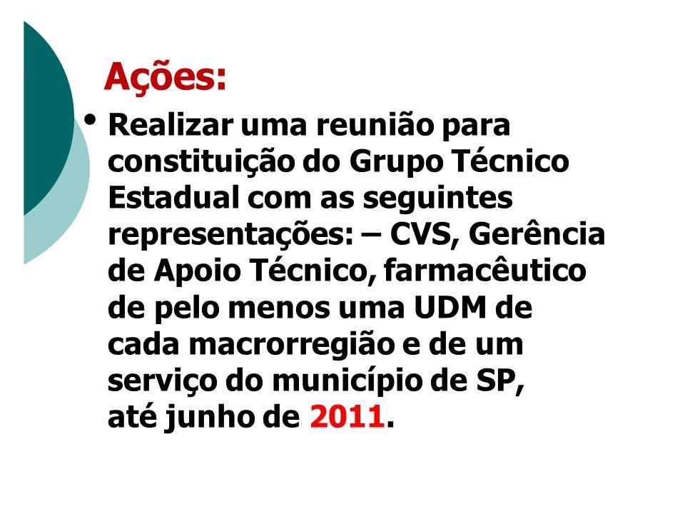 Ações: Realizar uma reunião para constituição do Grupo Técnico Estadual com as seguintes representações: – CVS, Gerência de Apoio Técnico, farmacêutico de pelo menos uma UDM de cada macrorregião e de um serviço do município de SP, até junho de 2011.