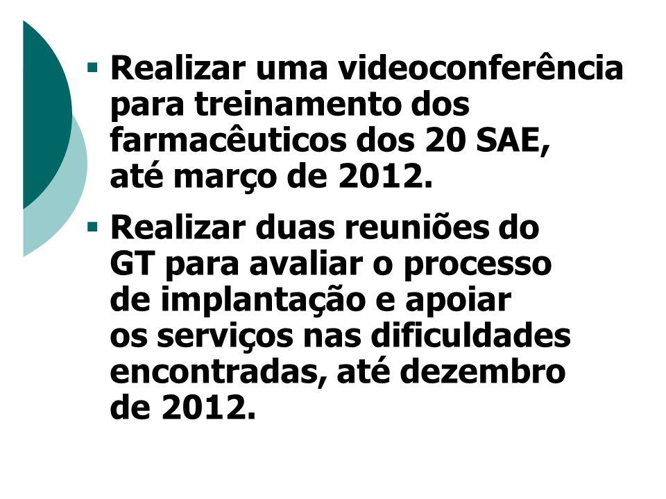  Realizar uma videoconferência para treinamento dos farmacêuticos dos 20 SAE, até março de 2012.