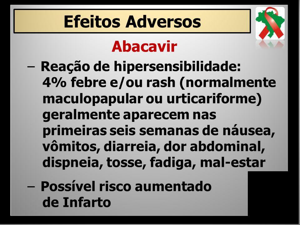 Abacavir – Reação de hipersensibilidade: 4% febre e/ou rash (normalmente maculopapular ou urticariforme) geralmente aparecem nas primeiras seis semana