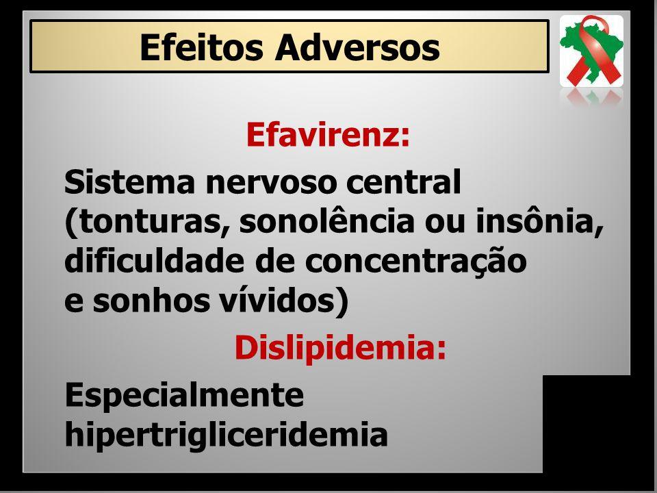 Efavirenz: Sistema nervoso central (tonturas, sonolência ou insônia, dificuldade de concentração e sonhos vívidos) Dislipidemia: Especialmente hipertr