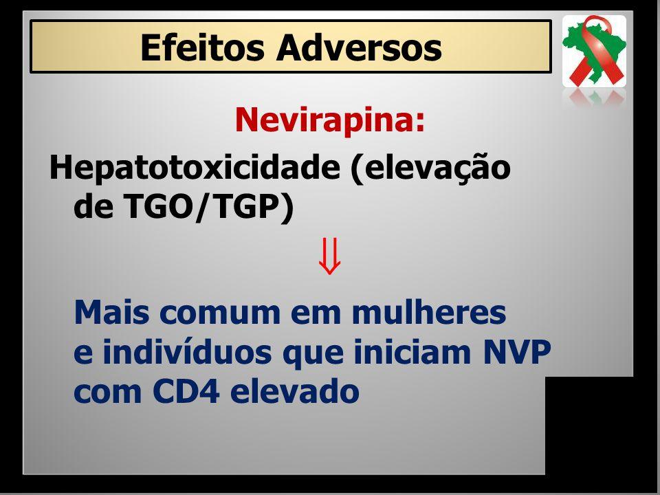 Nevirapina: Hepatotoxicidade (elevação de TGO/TGP)  Mais comum em mulheres e indivíduos que iniciam NVP com CD4 elevado Efeitos Adversos