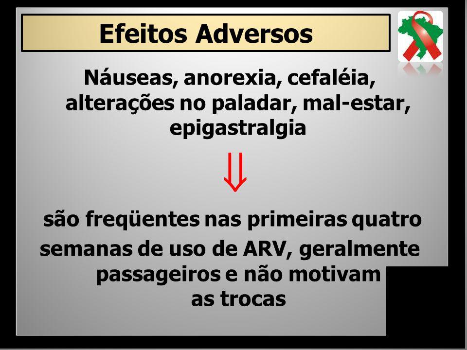 Náuseas, anorexia, cefaléia, alterações no paladar, mal-estar, epigastralgia  são freqüentes nas primeiras quatro semanas de uso de ARV, geralmente p