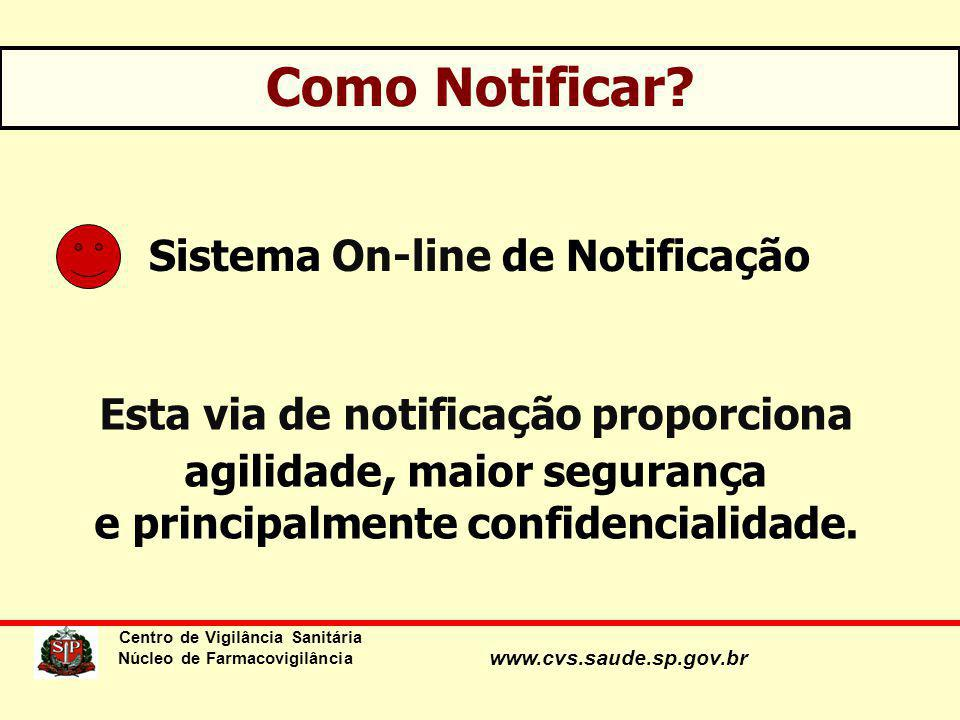 www.cvs.saude.sp.gov.br Como Notificar? Sistema On-line de Notificação Esta via de notificação proporciona agilidade, maior segurança e principalmente