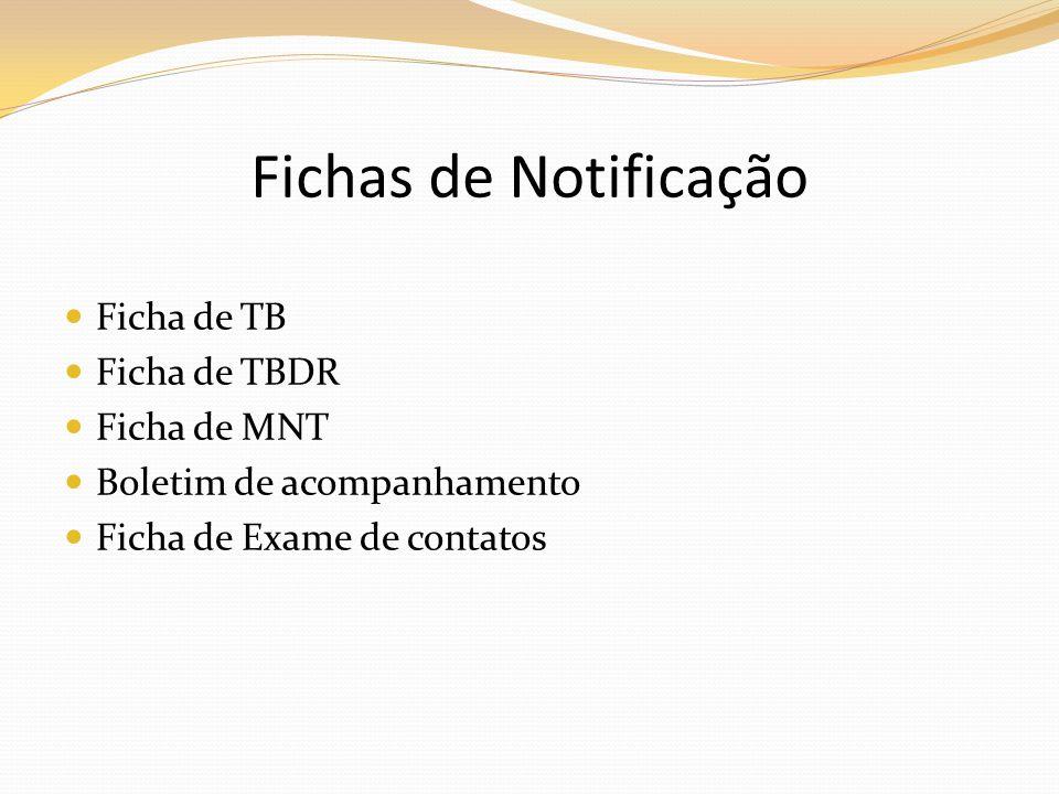 Ficha de TB Ficha de TBDR Ficha de MNT Boletim de acompanhamento Ficha de Exame de contatos Fichas de Notificação