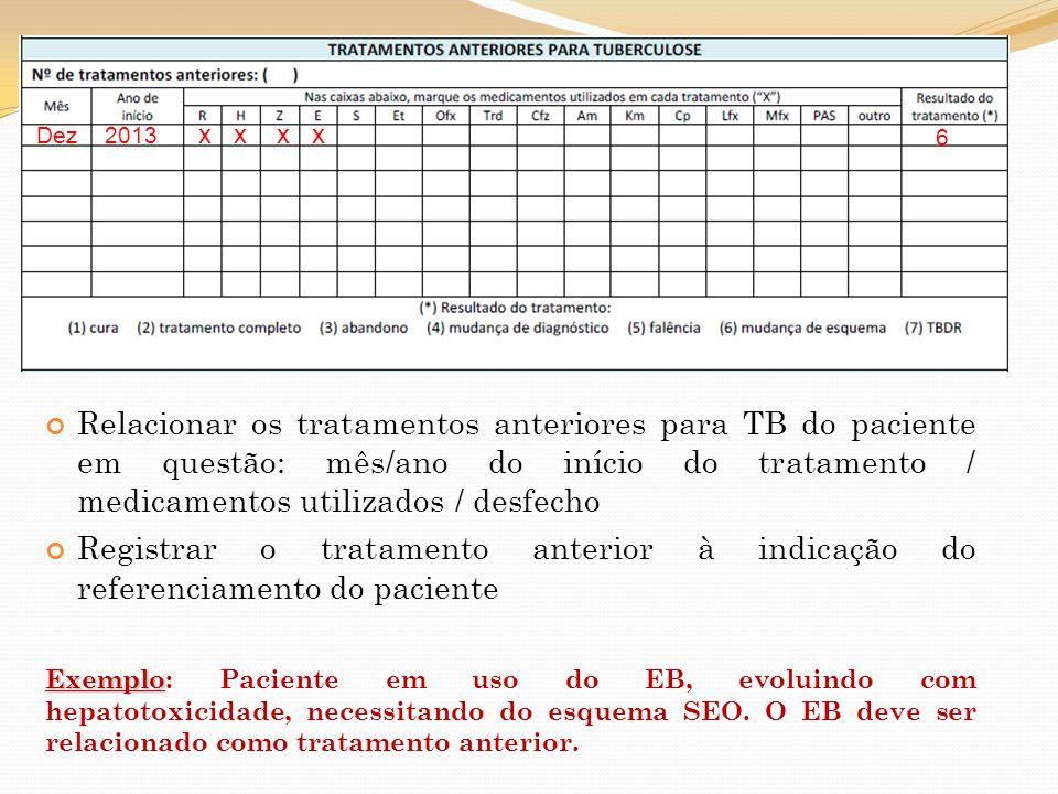Relacionar os tratamentos anteriores para TB do paciente em questão: mês/ano do início do tratamento / medicamentos utilizados / desfecho Registrar o