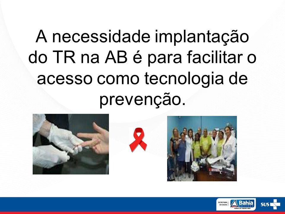 A necessidade implantação do TR na AB é para facilitar o acesso como tecnologia de prevenção.