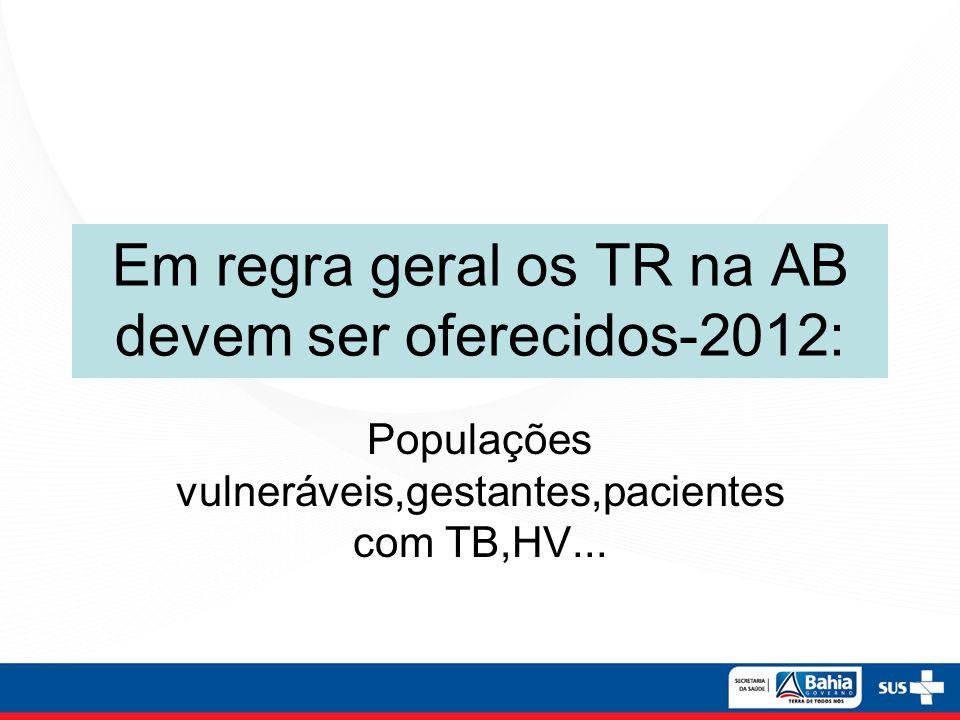Em regra geral os TR na AB devem ser oferecidos-2012: Populações vulneráveis,gestantes,pacientes com TB,HV...