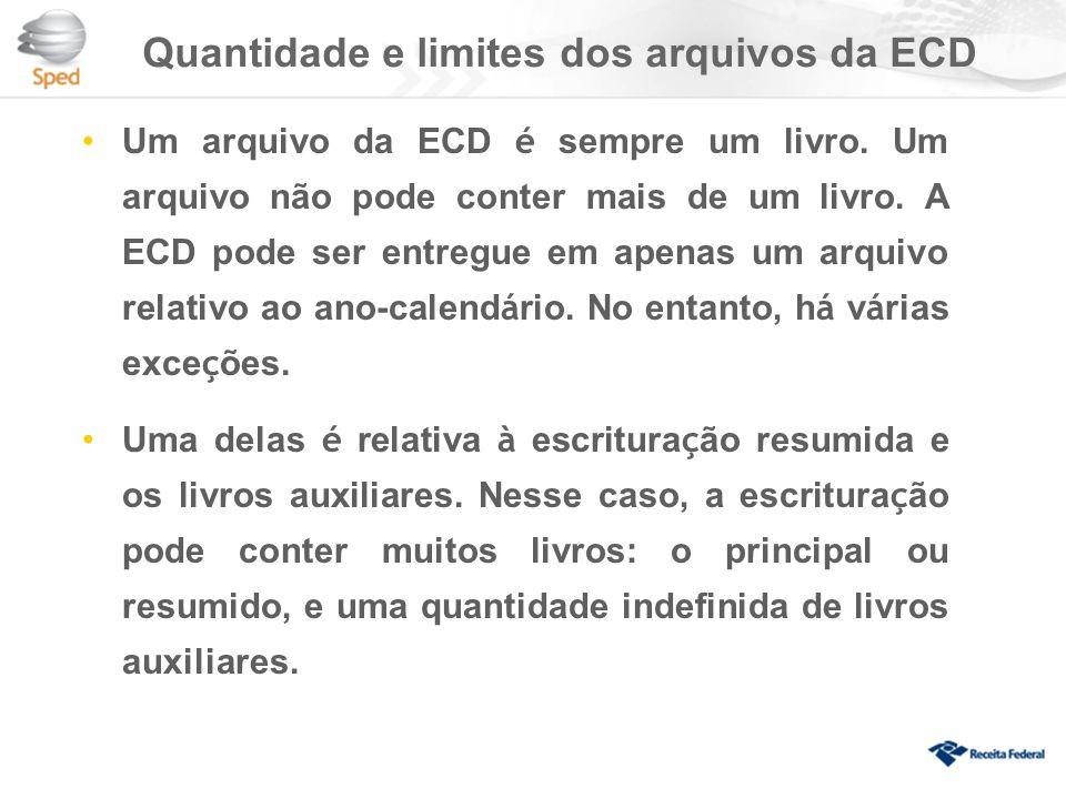 Quantidade e limites dos arquivos da ECD Um arquivo da ECD é sempre um livro.