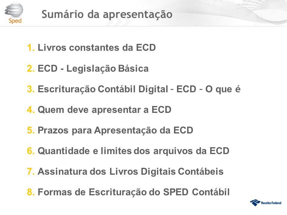 Sumário da apresentação 1.Livros constantes da ECD 2.ECD - Legisla ç ão B á sica 3.Escritura ç ão Cont á bil Digital – ECD – O que é 4.Quem deve apresentar a ECD 5.Prazos para Apresenta ç ão da ECD 6.Quantidade e limites dos arquivos da ECD 7.Assinatura dos Livros Digitais Cont á beis 8.Formas de Escritura ç ão do SPED Cont á bil