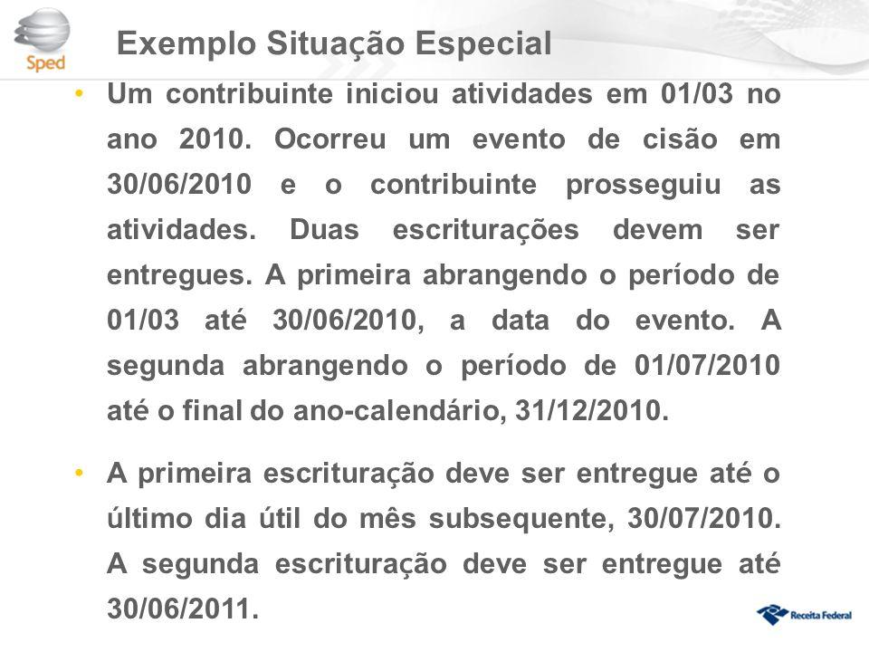 Exemplo Situa ç ão Especial Um contribuinte iniciou atividades em 01/03 no ano 2010.