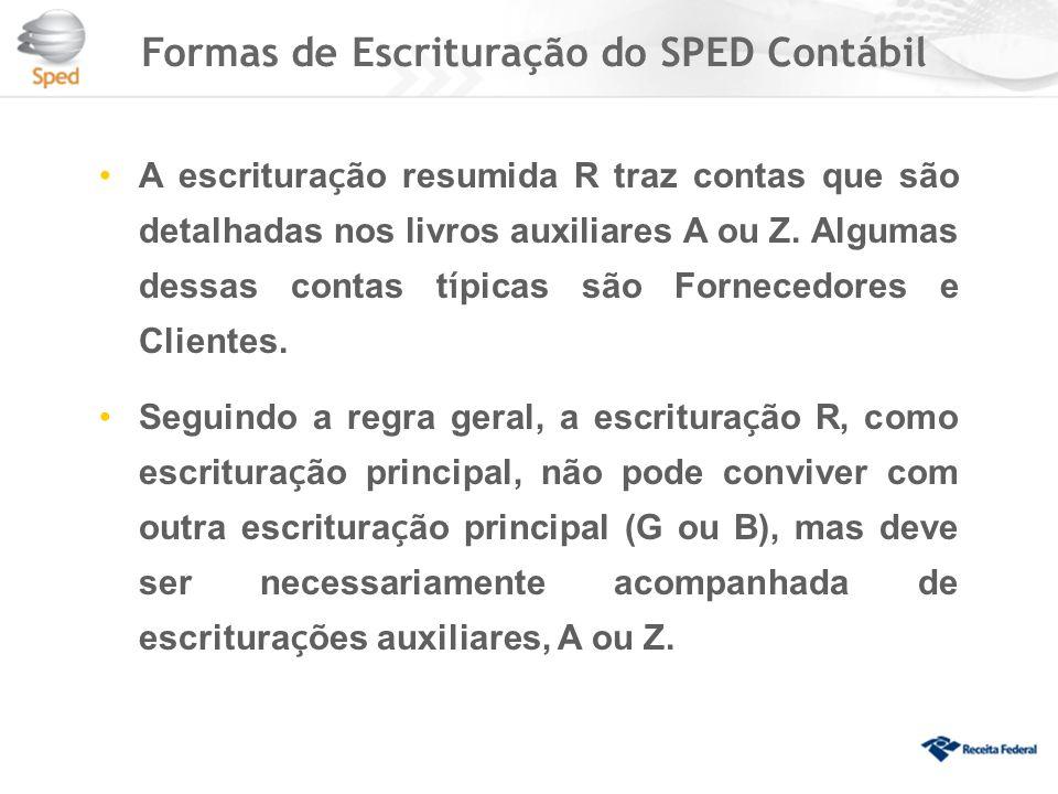 Formas de Escrituração do SPED Contábil A escritura ç ão resumida R traz contas que são detalhadas nos livros auxiliares A ou Z.