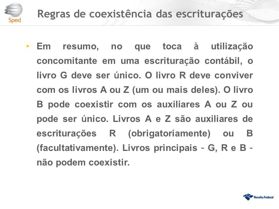 Regras de coexistência das escriturações Em resumo, no que toca à utiliza ç ão concomitante em uma escritura ç ão cont á bil, o livro G deve ser ú nico.