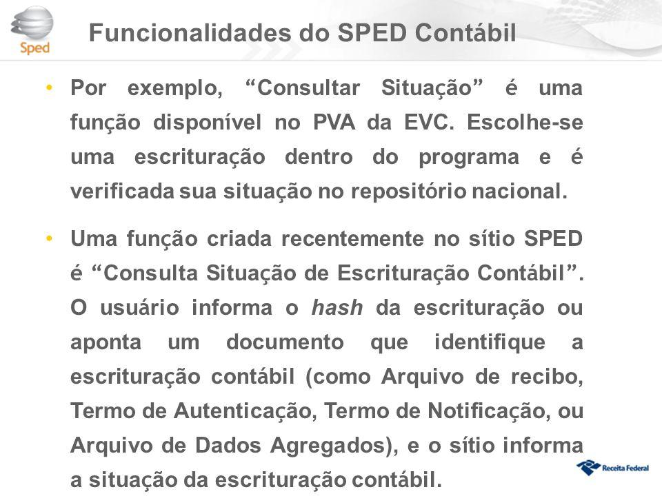 Funcionalidades do SPED Cont á bil Por exemplo, Consultar Situa ç ão é uma fun ç ão dispon í vel no PVA da EVC.