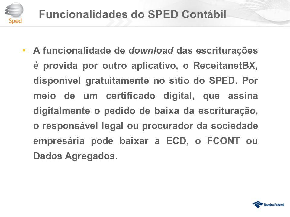 Funcionalidades do SPED Cont á bil A funcionalidade de download das escritura ç ões é provida por outro aplicativo, o ReceitanetBX, dispon í vel gratuitamente no s í tio do SPED.