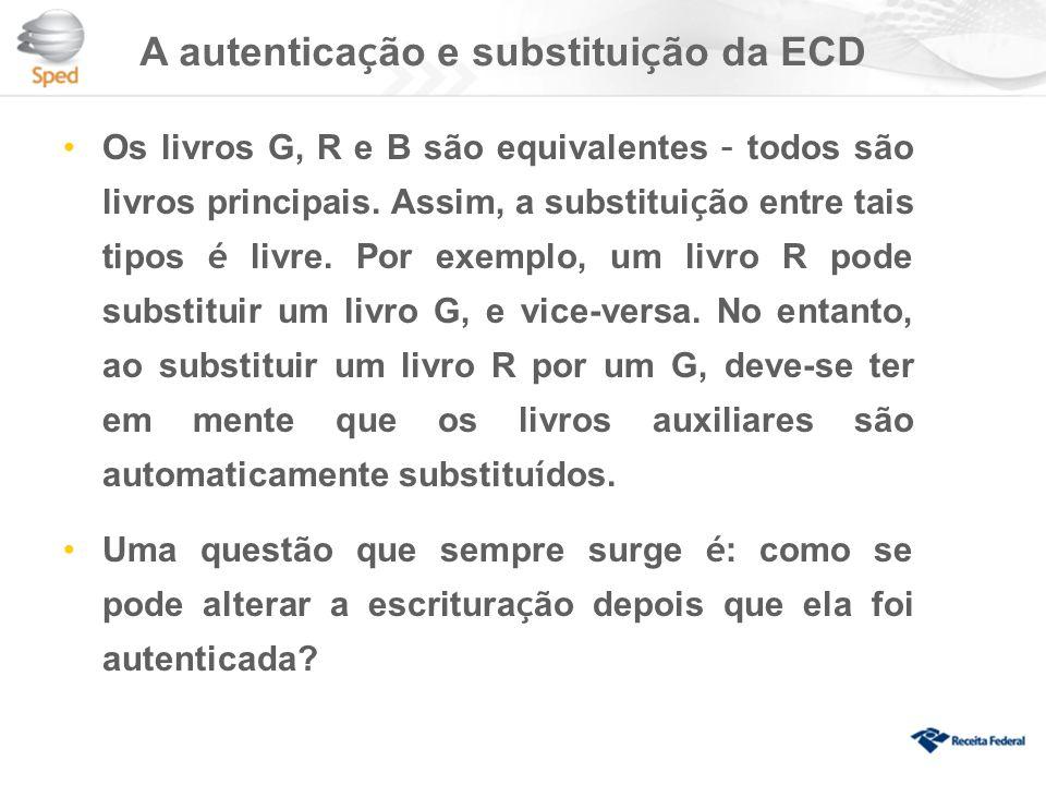A autentica ç ão e substitui ç ão da ECD Os livros G, R e B são equivalentes – todos são livros principais.