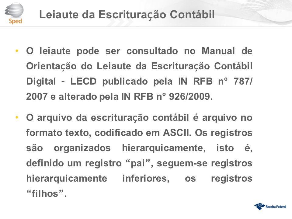 Leiaute da Escritura ç ão Cont á bil O leiaute pode ser consultado no Manual de Orienta ç ão do Leiaute da Escritura ç ão Cont á bil Digital – LECD publicado pela IN RFB n º 787/ 2007 e alterado pela IN RFB n º 926/2009.