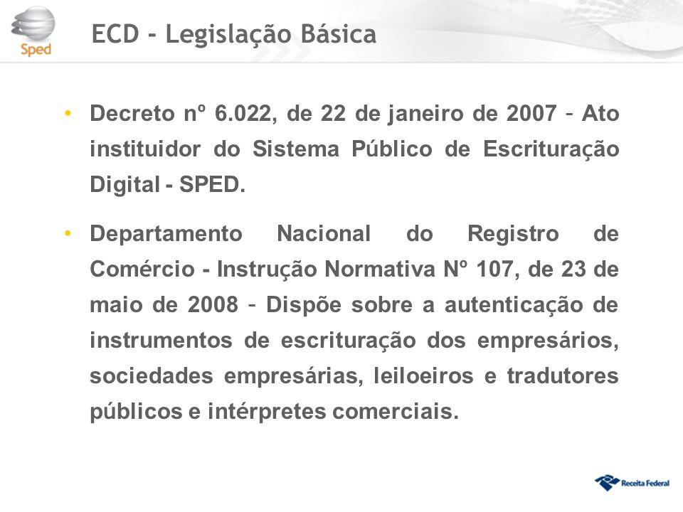 ECD - Legislação Básica Decreto n º 6.022, de 22 de janeiro de 2007 – Ato instituidor do Sistema P ú blico de Escritura ç ão Digital - SPED.