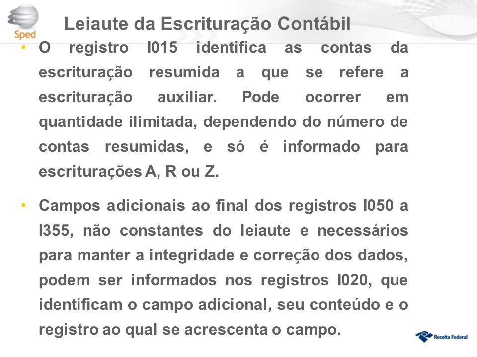 Leiaute da Escritura ç ão Cont á bil O registro I015 identifica as contas da escritura ç ão resumida a que se refere a escritura ç ão auxiliar.