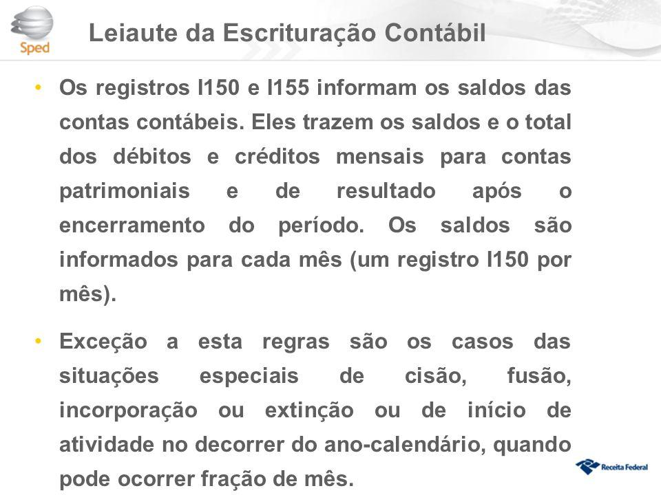 Leiaute da Escritura ç ão Cont á bil Os registros I150 e I155 informam os saldos das contas cont á beis.
