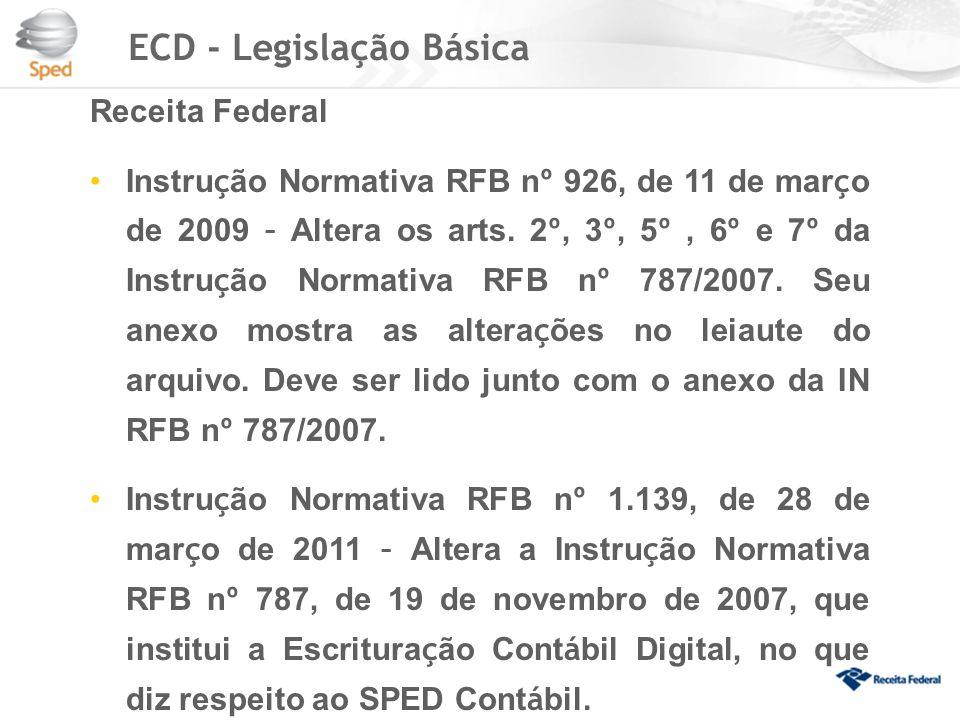 ECD - Legislação Básica Receita Federal Instru ç ão Normativa RFB n º 926, de 11 de mar ç o de 2009 – Altera os arts.