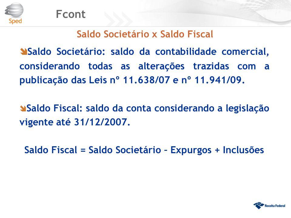 Fcont Saldo Societário x Saldo Fiscal  Saldo Societário: saldo da contabilidade comercial, considerando todas as alterações trazidas com a publicação
