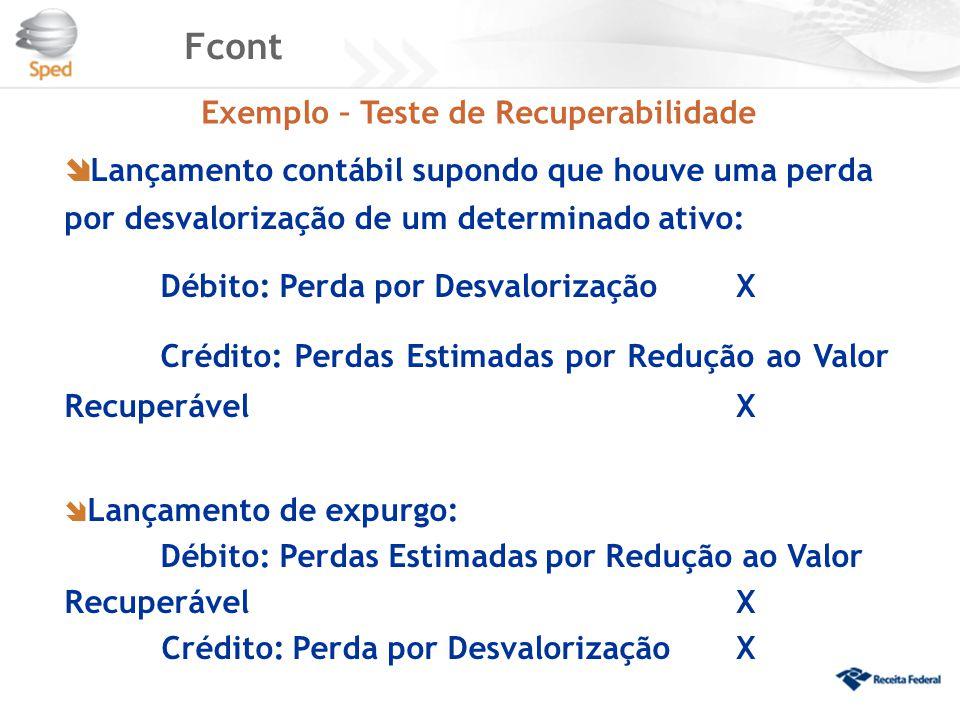 Fcont Exemplo – Teste de Recuperabilidade  Lançamento contábil supondo que houve uma perda por desvalorização de um determinado ativo: Débito: Perda