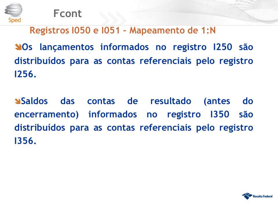 Fcont Registros I050 e I051 – Mapeamento de 1:N  Os lançamentos informados no registro I250 são distribuídos para as contas referenciais pelo registr