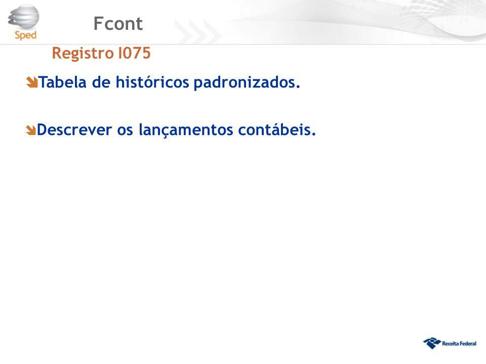 Fcont Registro I075  Tabela de históricos padronizados.  Descrever os lançamentos contábeis.