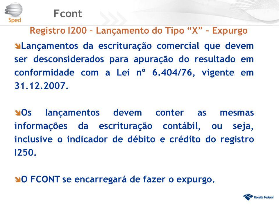 """Fcont Registro I200 – Lançamento do Tipo """"X"""" - Expurgo  Lançamentos da escrituração comercial que devem ser desconsiderados para apuração do resultad"""